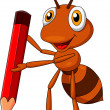 Cute ant cartoon with red pencil — Stock Vector