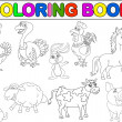 Farm animal collection coloring book — Image vectorielle