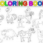 Farm animal collection coloring book — Stock Vector #23055490