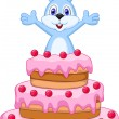 Rabbit cartoon inside the cake - birthday card  — Stock Vector