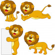 Stock Vector: Cute lion cartoon set