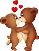 Bear couple cartoon kissing — Vector de stock