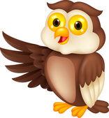 Owl cartoon waving — Stock Vector