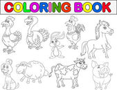 Farm animal collection coloring book — Stock Vector