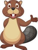 Cute beaver cartoon waving hand — Stock Vector