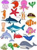 Sea life cartoon set — Stock Vector