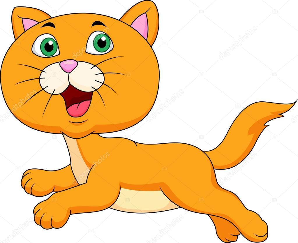 运行的可爱猫咪卡通矢量插画– 图库插图