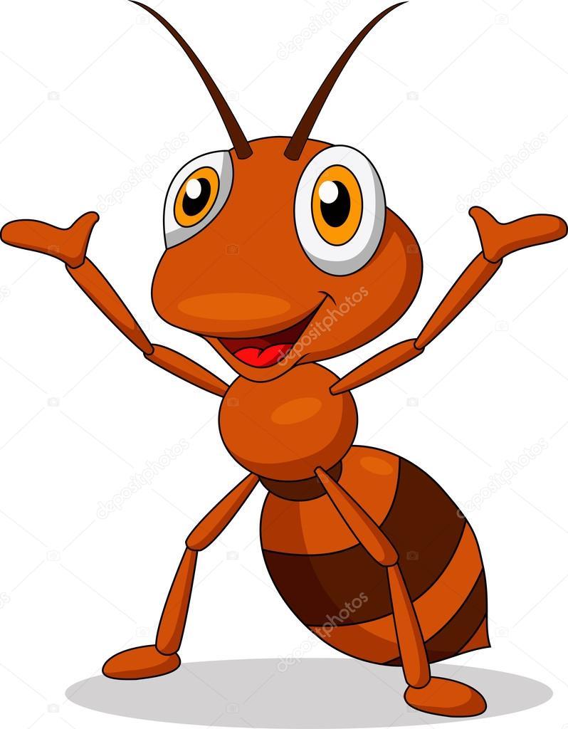 矢量插画的可爱蚂蚁卡通挥舞着