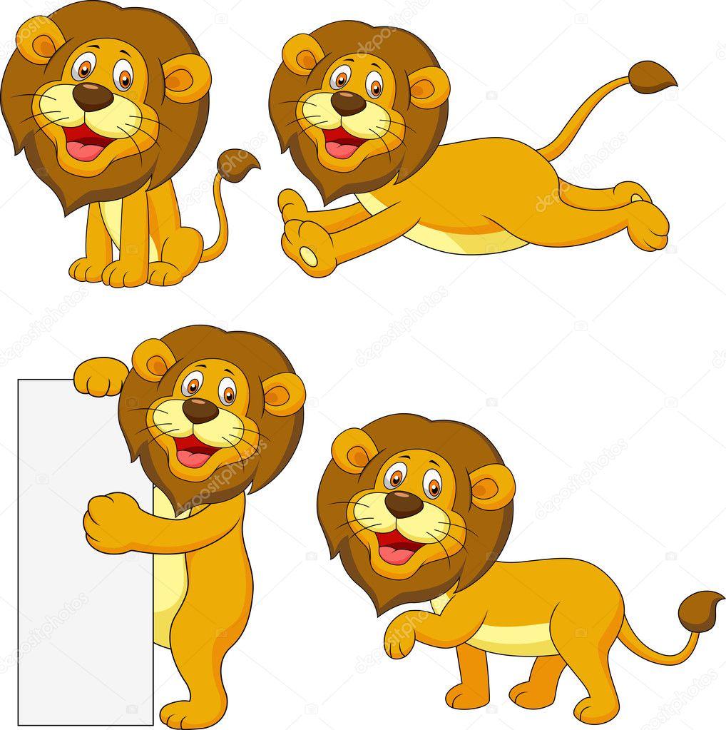 矢量插画的可爱狮子卡通套