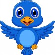 Royalty-Free Stock Vector Image: Cute blue bird cartoon flying