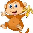 Cute monkey eating banana — Stock Vector
