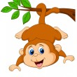 Cute monkey hanging on tree branch - Stock Vector