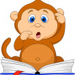 Cute monkey cartoon reading book - Stock Vector