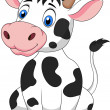 Smiling cow sitting — Stock Vector