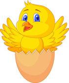 Pękniętych jaj z ładny ptak wewnątrz — Wektor stockowy