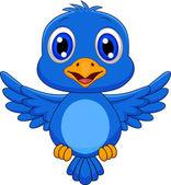 Cute blue bird cartoon flying — Stock Vector