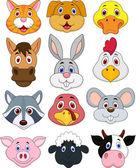 Animal head cartoon collection — Stock Vector