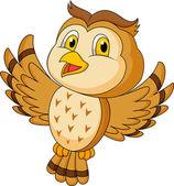 Cute owl cartoon flying — Stock Vector