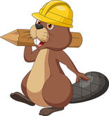 Cute cartoon beaver wearing safety hat and holding a wood log — Stock Vector