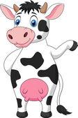 Vaca cartoon acenando — Vetor de Stock
