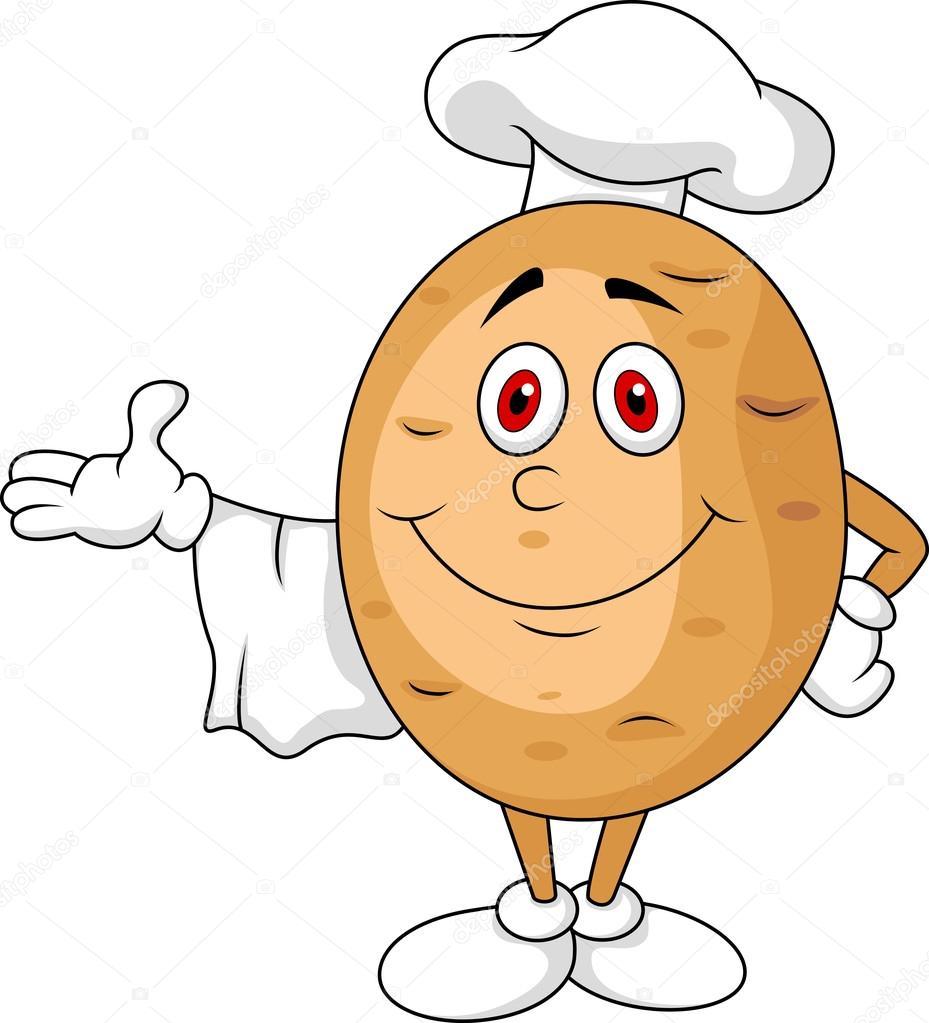 可爱的马铃薯厨师卡通人物