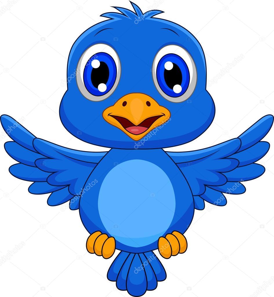 Cartoon simpatico uccellino azzurro volare — vettoriali