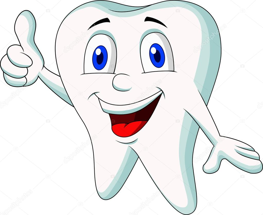 Cartone animato del dente con il pollice in su
