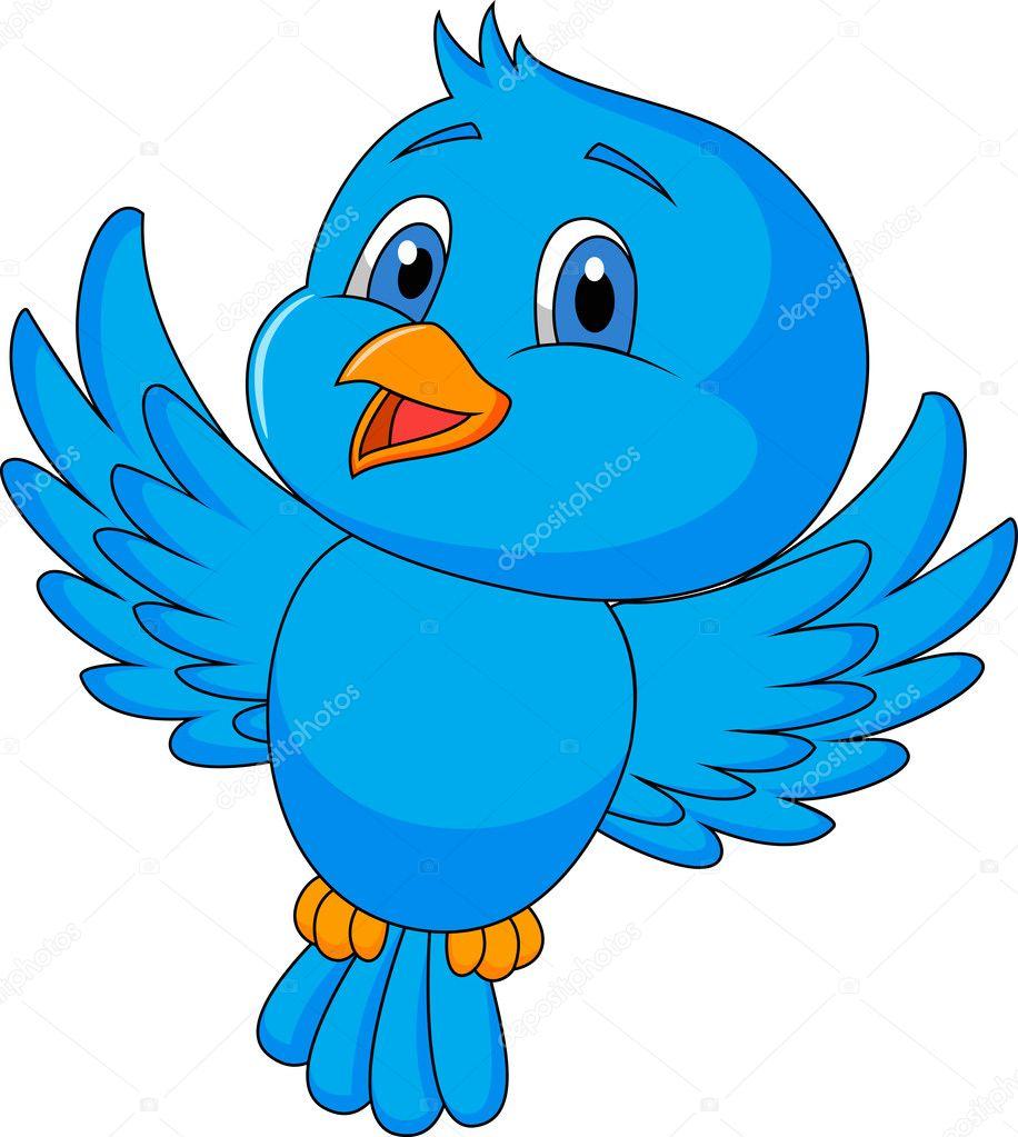 Cartone animato uccello blu — vettoriali stock tigatelu