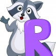 Stock Vector: Alphabet R with raccoon cartoon