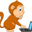 Cute monkey cartoon playing computer - Stock Vector