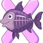 alphabet x avec cartoon fish x-ray — Vecteur