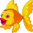 Cute golden fish cartoon - Image vectorielle