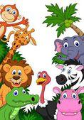 Safari animal cartoon background — Stock Vector