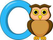 Alphabet O with owl cartoon — Stock Vector
