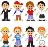 Boy cartoon collection set — Stock Vector