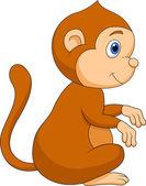 かわいい猿の漫画に座って — ストックベクタ