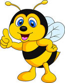 Bee cartoon thumb up — Stockvektor