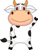 Cute cow cartoon waving — Stock Vector