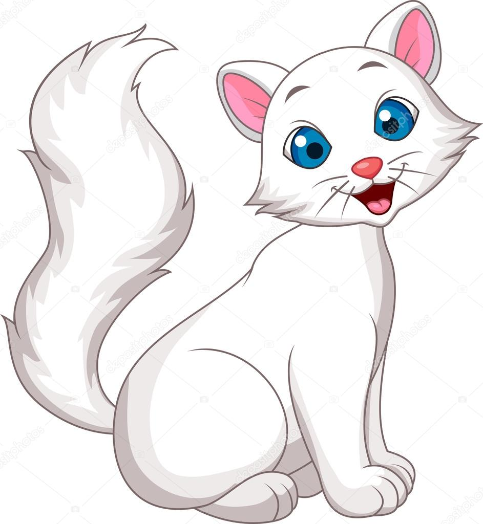 Seduta del cartone animato carino gatto bianco