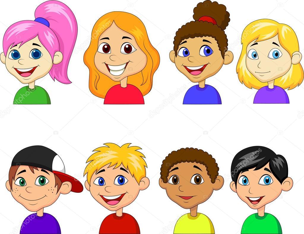 Meninos E Meninas De Nacionalidades Diferentes Childre: Conjunto De Coleta De Menino E Menina Dos Desenhos