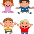 Happy kids cartoon — Imagen vectorial