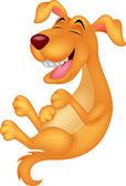 Cute dog cartoon laughing — Stock Vector