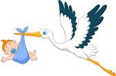 Stork with baby boy cartoon — Stock Vector