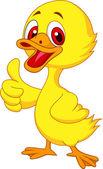 Cute baby duck cartoon thumb up — Stock Vector
