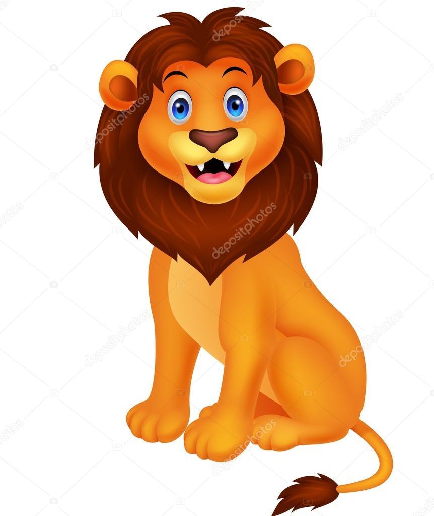 Caricatura lindo león sentado — vector de stock tigatelu