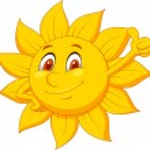 Sun cartoon character with thumb up — Stock Vector #25416587