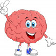 Stock Vector: Cute brain cartoon character pointing