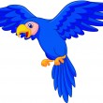 Blue parrot cartoon flying — Stock Vector