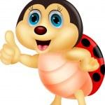 Cute ladybug cartoon thumb up — Stock Vector