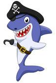 可爱的海盗鲨鱼卡通 — 图库矢量图片
